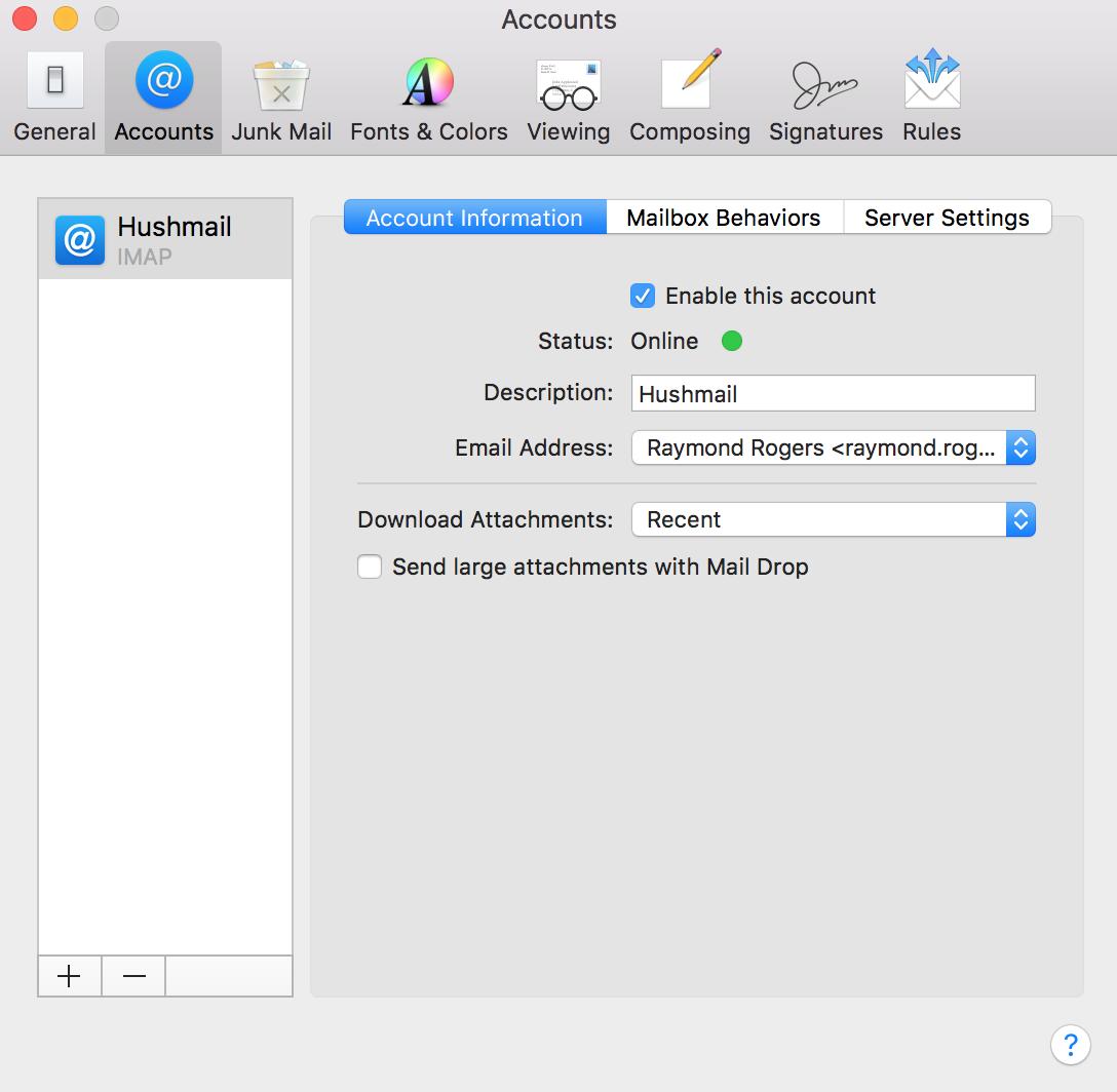 Mac Mail (IMAP) – Hushmail Help